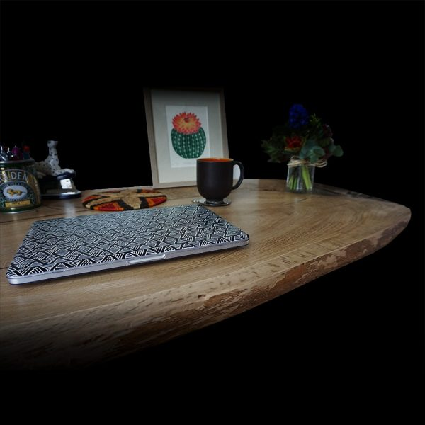 Unique rounded edge bespoke oak slab desk top with beautiful unique decor