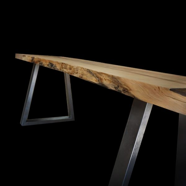 Beautiful live edging detail of our unique syacmore desks showing resin infused knots, cracks and striations with modern steel trapezium shaped legs