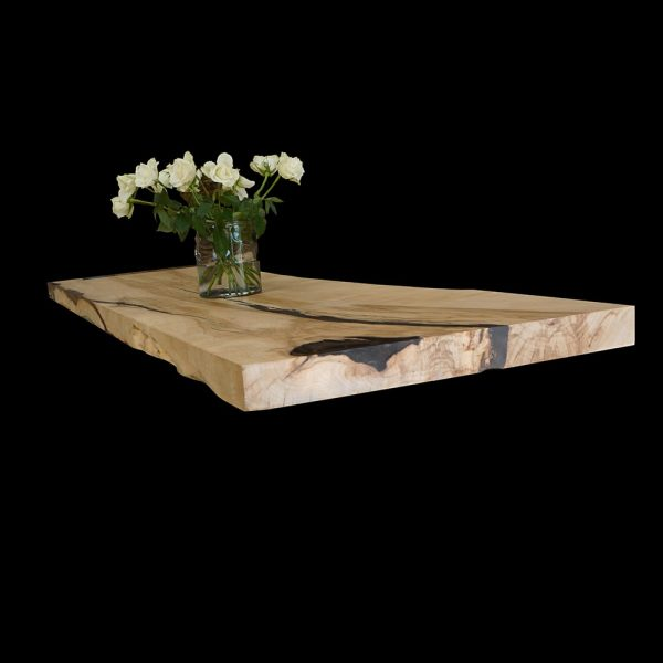Beautiful resin infused natural imperfections on waney edged rustic sycamore desk top