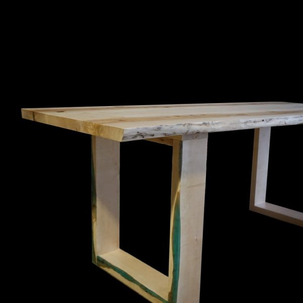 Beautiful bespoke waney edged solid wooden oak table top with matching legs