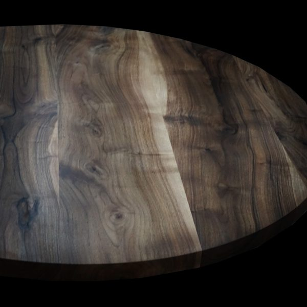 Bespoke wild walnut & resin desk top custom crafted into circular shape showing unique earthy grain and natural imperfections