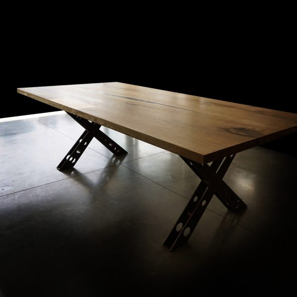Modern styled oak desk top with resin infused river effect and earthy imperfections with X-shaped steel legs