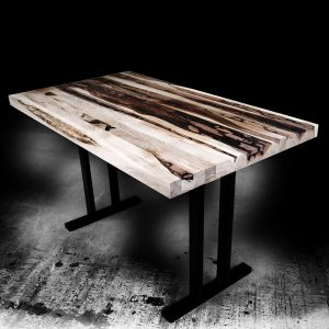 Contemporary modern desk top crafted from strips of our hardwood offcuts and infused with epoxy resin with II shaped Legs