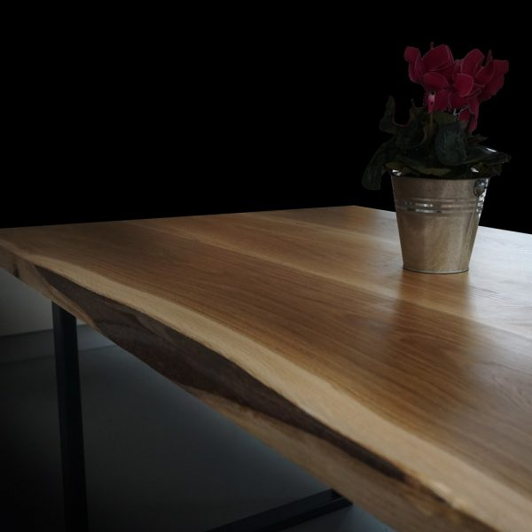 Bespoke resin infused straight edging on modern contemporary oak desk