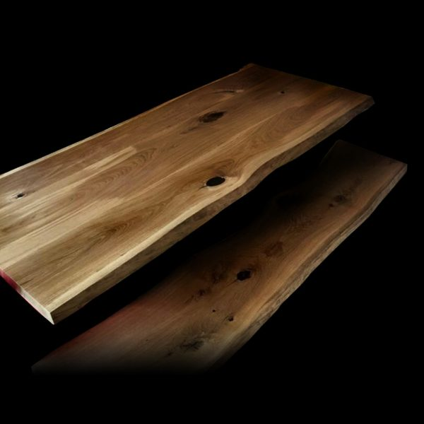 Resin infused cracks, striations and knots on beautiful rustic oak bench top with live edging