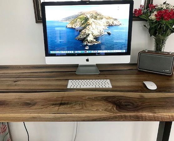 live edge walnut desk by Earthy Timber