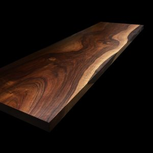 Bespoke wild walnut bench top infused with epoxy resin showing unique distinct earthy grains