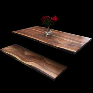Beautiful matching walnut bench top showing beautiful unique earthy grains and resin infused edging