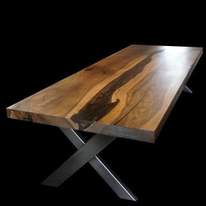 Beautiful bespoke walnut dining table with epoxy resin river effect and X shaped legs