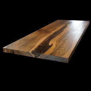 Beautiful earthy organic styled wild walnut kitchen island with unique decorative resin river effect