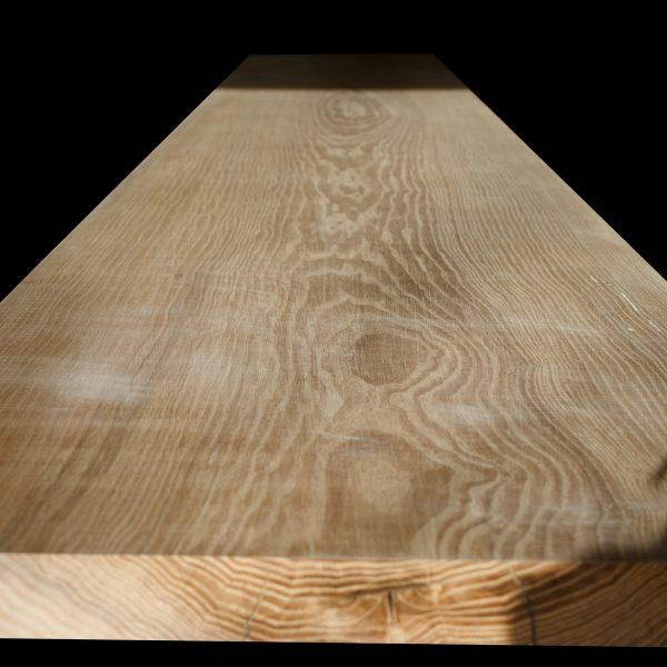 Beautiful bespoke earthy ash slab top with grain detail