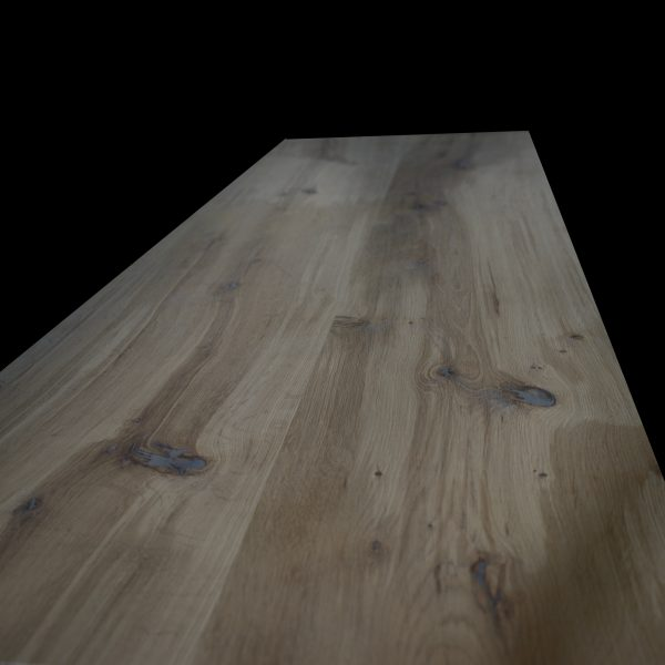Beautiful bespoke solid wood ash slab top with straight edging and metal infill