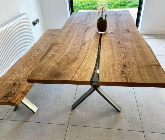 bespoke oak river tables by Earthy Timber UK