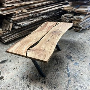 earthy timber live edge oak desk river effect