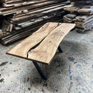 earthy timber live edge oak desk river effect
