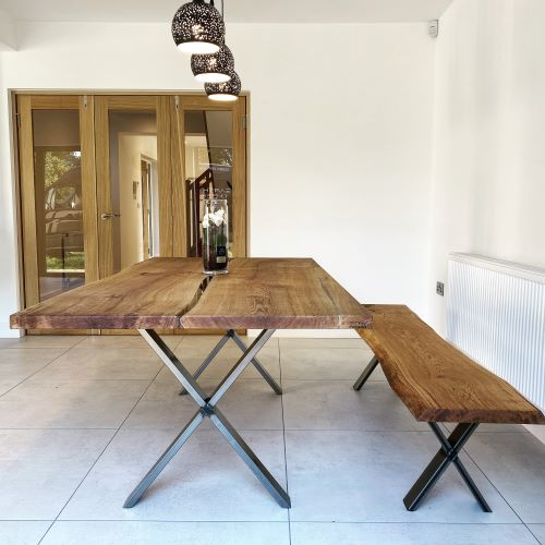 live edge oak dining table by Earthy Timber
