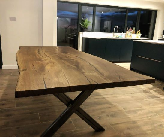 live edge oak river table by Earthy Timber
