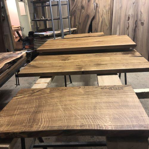 live edge oak slab bathroom shelf by Earthy Timber