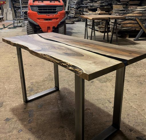 live edge walnut river desk top by Earthy Timber