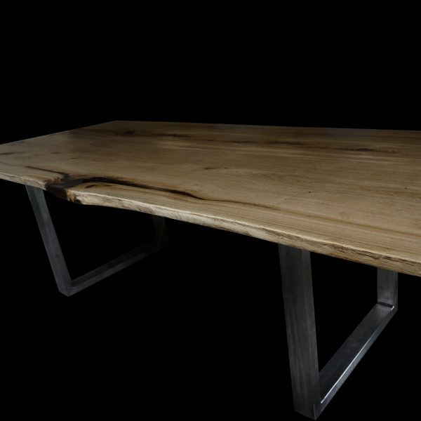 Beautiful bespoke solid wood live edge bench with resin and trapezium shaped steel legs