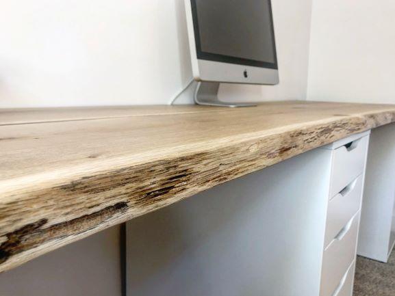 live edge oak desk top by Earthy Timber