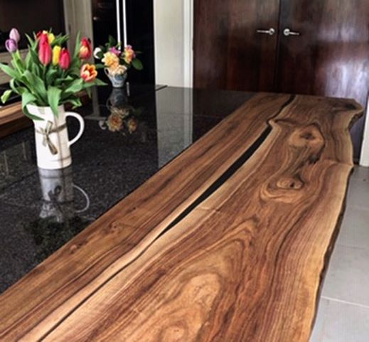 walnut resin breakfast bar by Earthy Timber