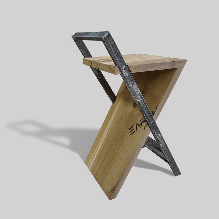 Walnut Stool Earthy Fusion of Wood & Metal