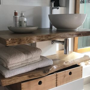 live edge bathroom sink shelf by Earthy Timber