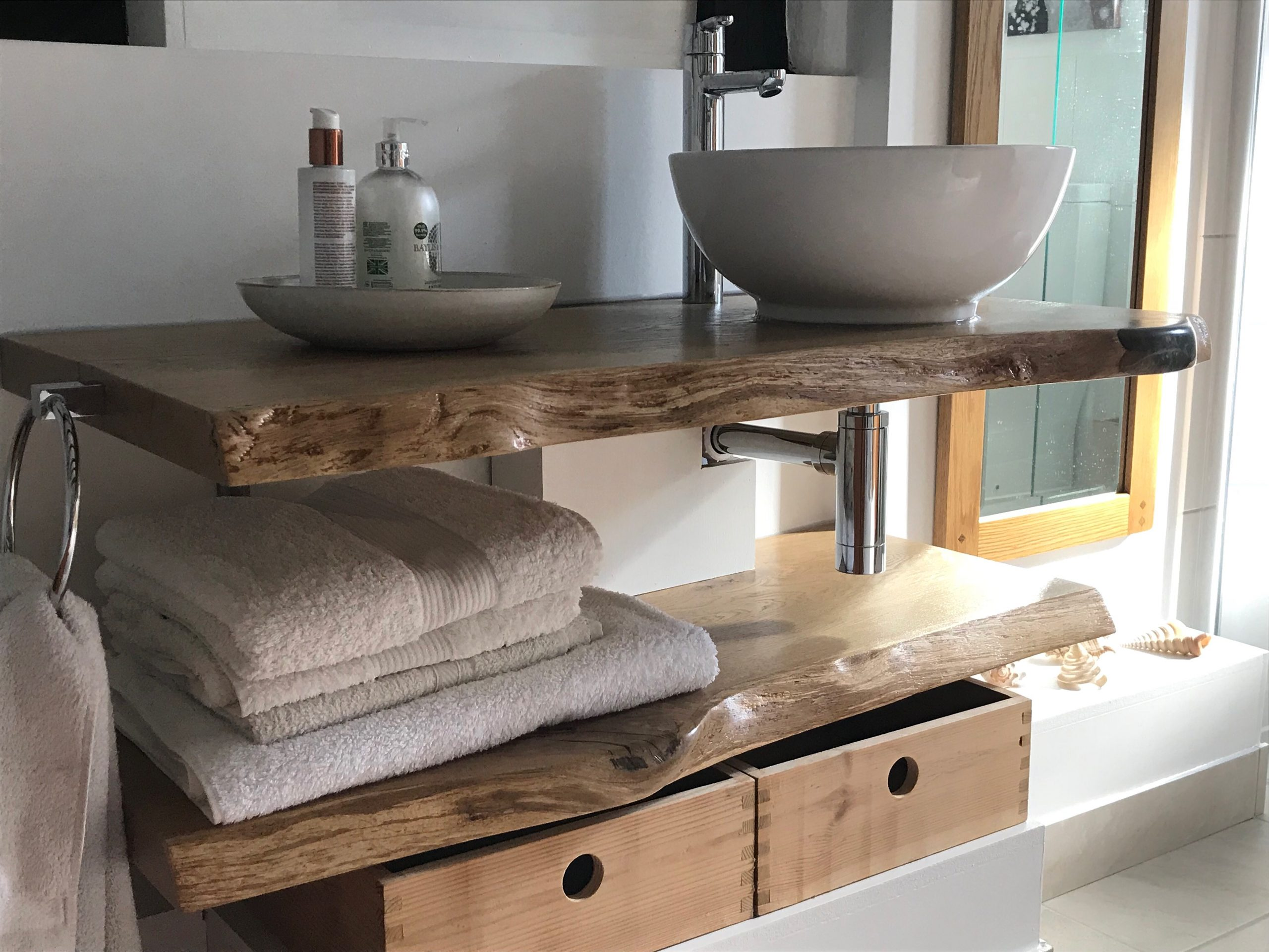 live edge bathroom sink shelf by Earthy Timber