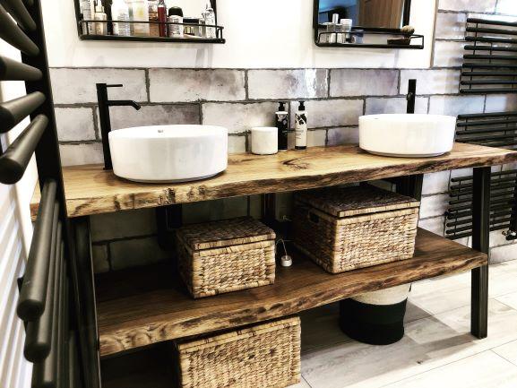 Earthy Timber live edge vanity sink top