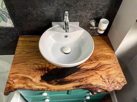 bathroom vanity oak worktop in live edge oak