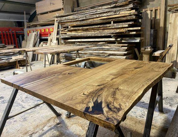 kitchen island oak worktop by Earthy Timber