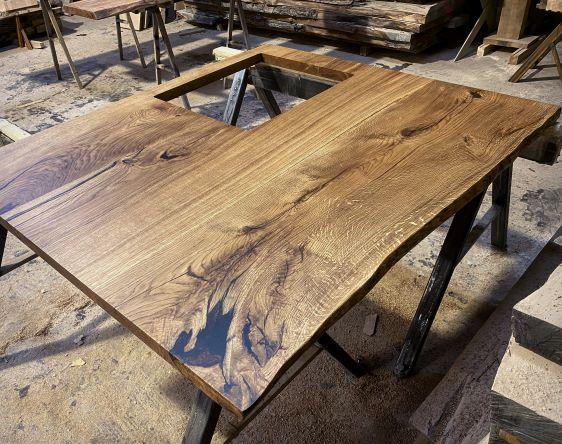 live edge oak kitchen island top by Earthy Timber