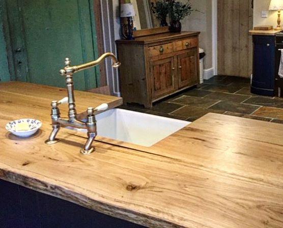 live edge oak kitchen island worktop by Earthy Timber