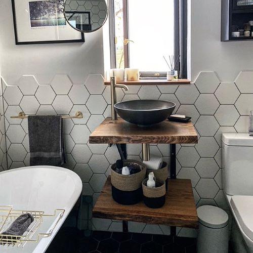 live edge oak bathroom basin worktop by Earthy Timber
