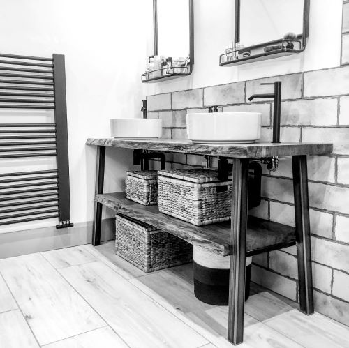 live edge wood bathroom shelves EARTHY TIMBER