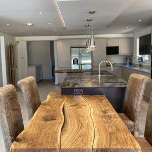 oak worktop extended kitchen island by Earthy Timber