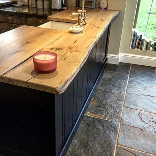 waney edge oak kitchen island top by Earthy Timber