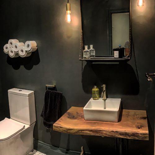 rustic wood piece for bathroom basin shelf by Earthy Timber