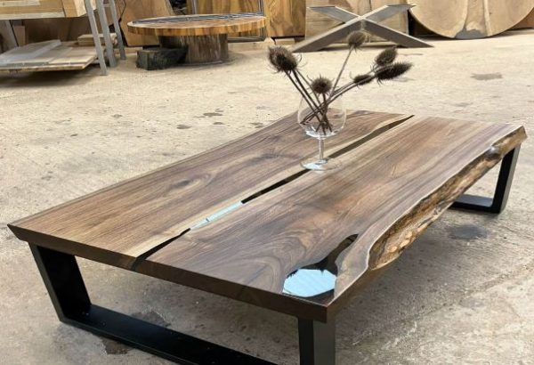 live edge walnut table by Earthy Timber