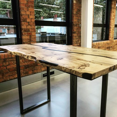 live edge wood bar table by Earthy Timber