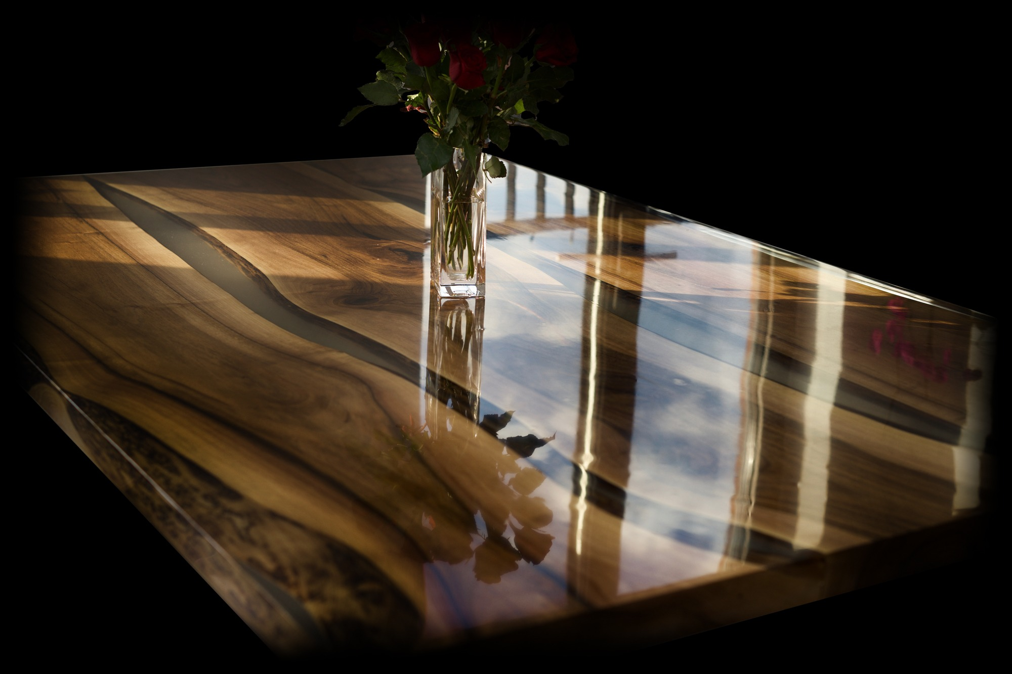 wild walnut live edge table wood resin earthy timber