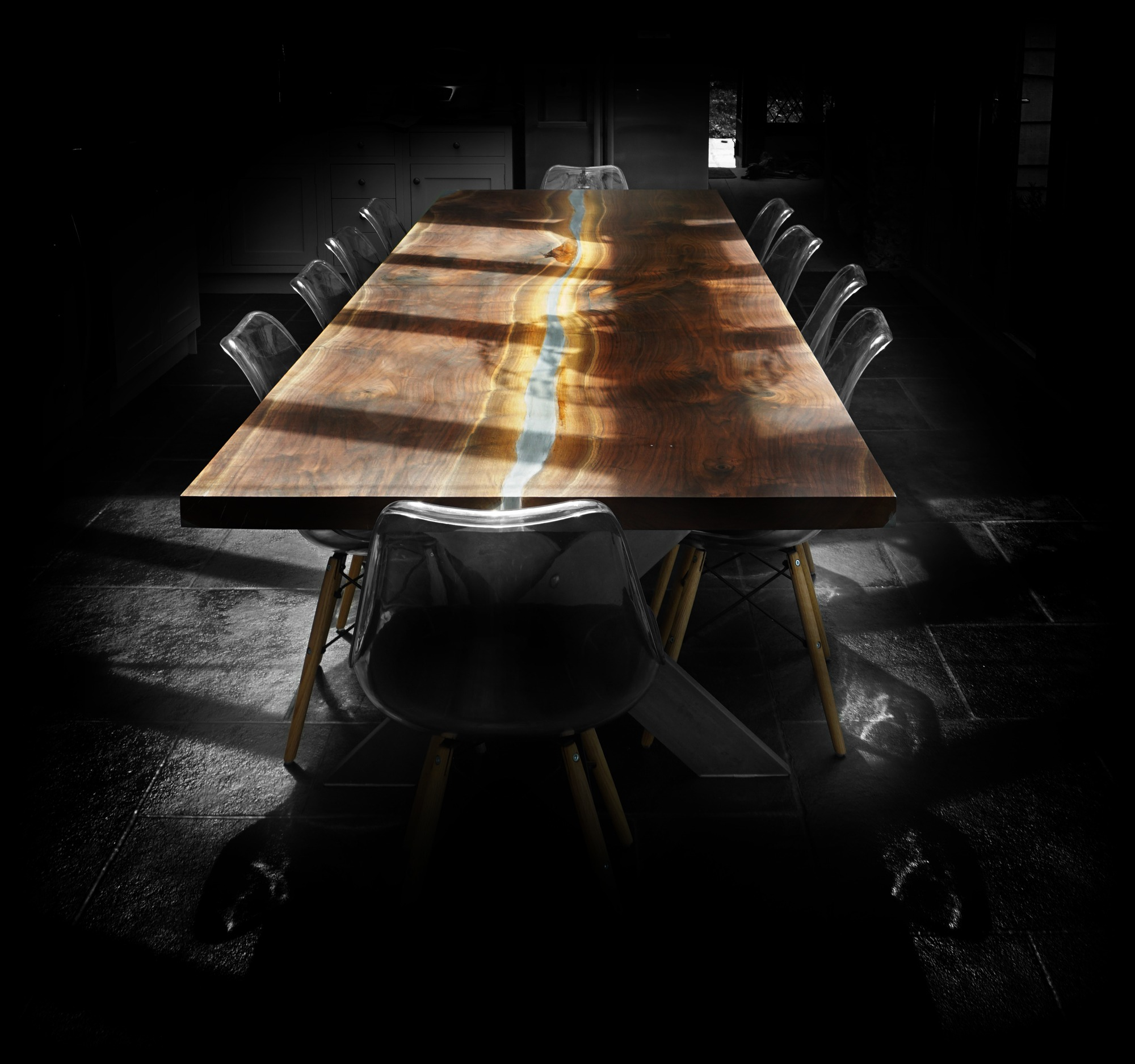 large luxury dining table for 10 earthy wood metal