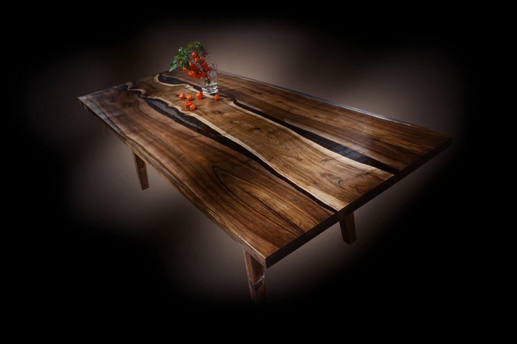 english walnut dining table live edge bark edge