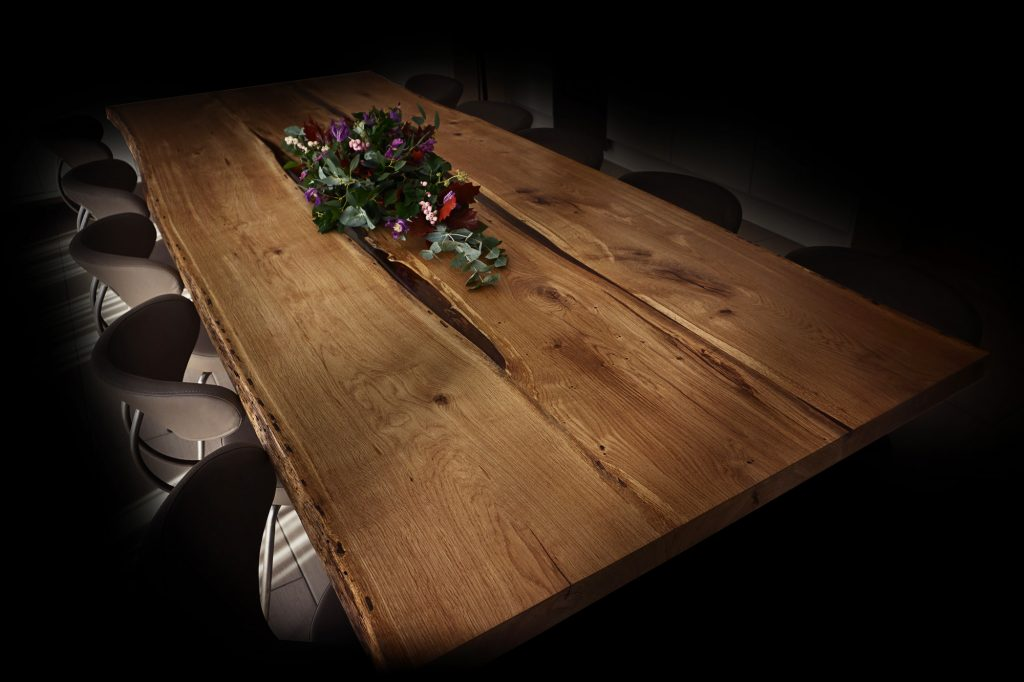 3m long live edge oak dining table with resin earthy design