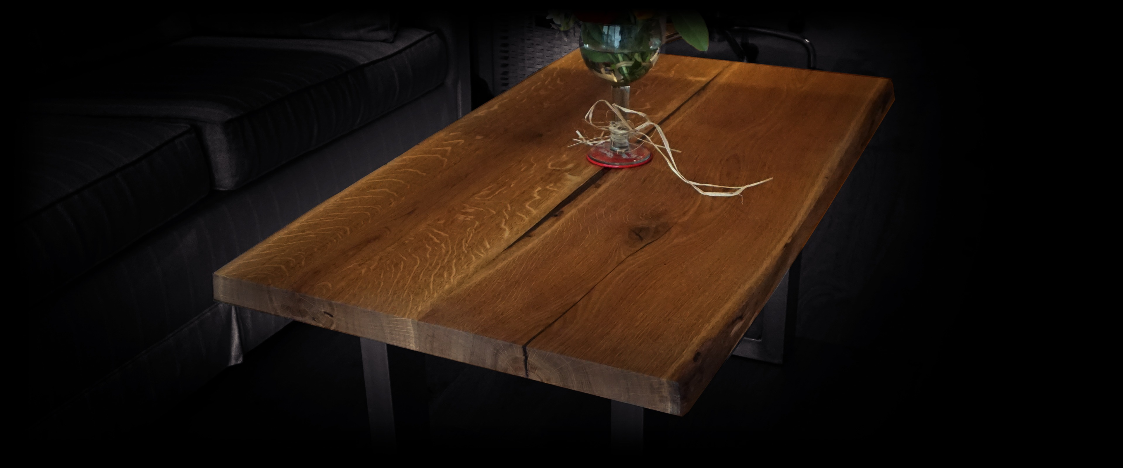 oak coffee table live edge little table earthy design