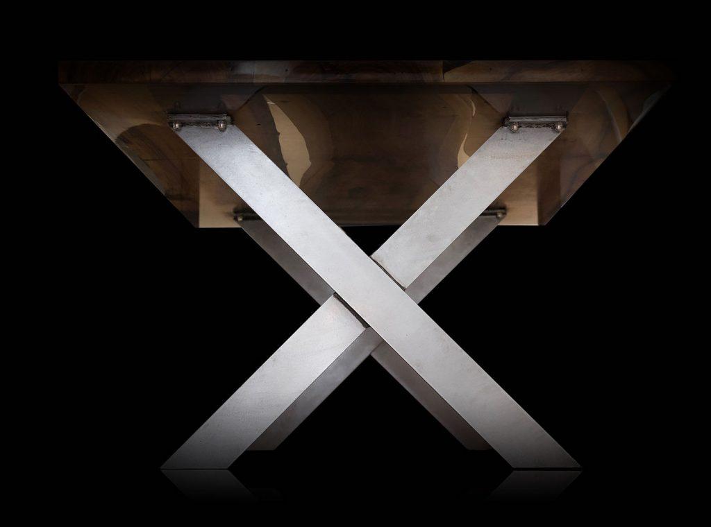 handcrafted walnut table steel legs earthy luxury design
