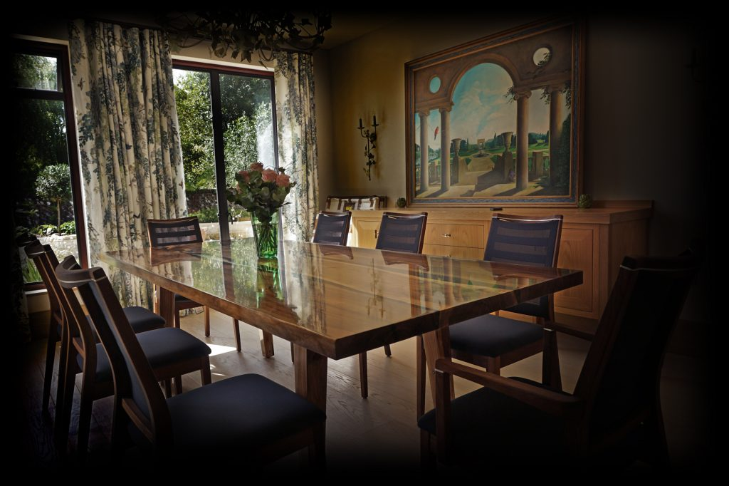 english designer dining table furniture earthy timber