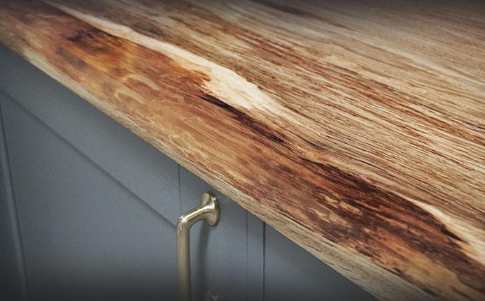 Resin filled corners on oak kitchen worktop