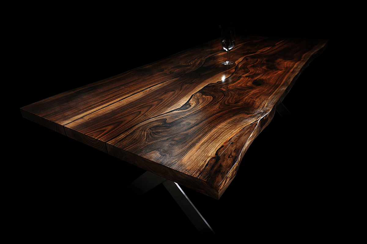 live edge walnut luxury table